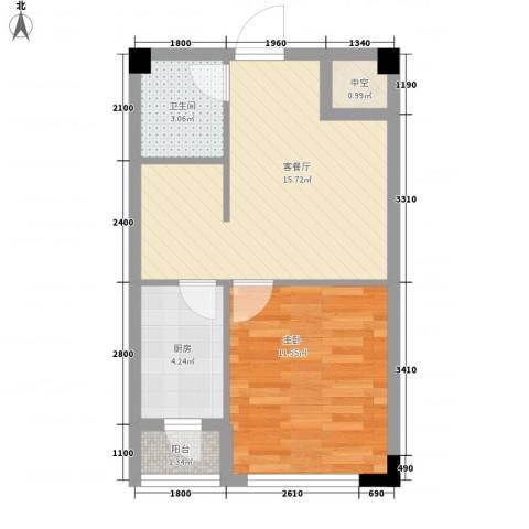 剑桥园1室1厅1卫1厨51.00㎡户型图