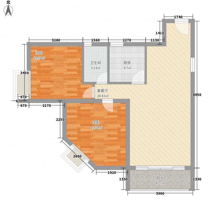 轻港佳苑83.24㎡D户型2室2厅1卫1厨