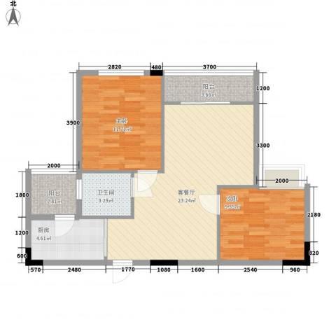 广汇东湖城2室1厅1卫1厨76.00㎡户型图