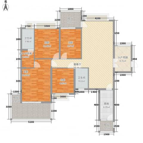 广汇东湖城4室1厅2卫1厨144.00㎡户型图