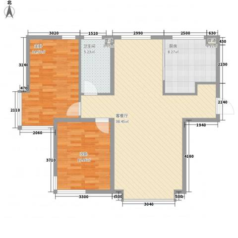 海门富民新村2室1厅1卫1厨109.00㎡户型图