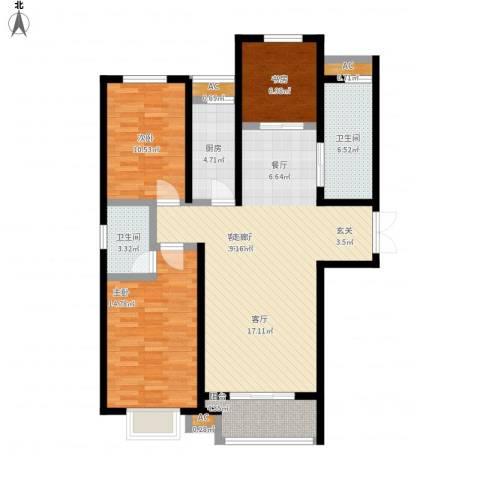 泰丰观湖3室1厅2卫1厨131.00㎡户型图