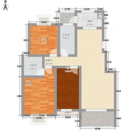 久地雅苑3室1厅2卫1厨111.00㎡户型图
