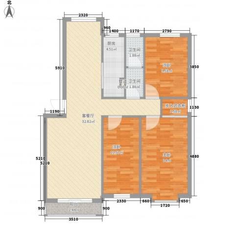 亲亲家园3室1厅2卫1厨111.00㎡户型图