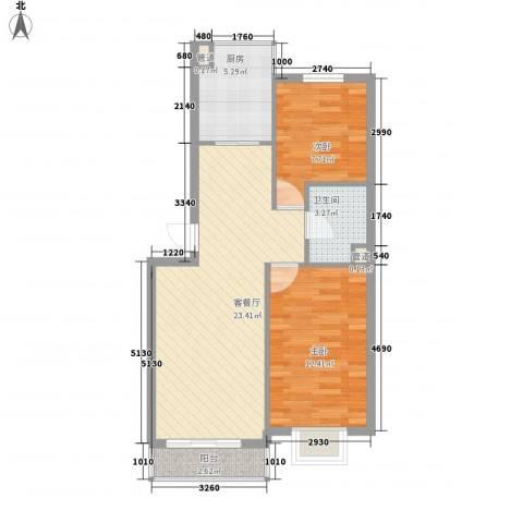 亲亲家园2室1厅1卫1厨78.00㎡户型图