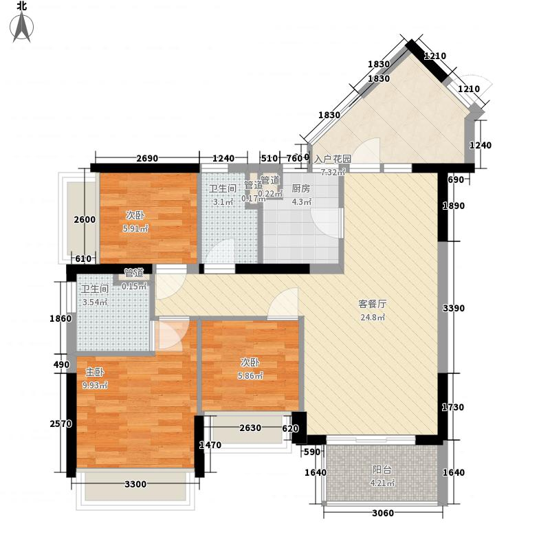 万科金域东郡89.00㎡万科金域东郡户型图A-4奇数层3室2厅2卫1厨户型3室2厅2卫1厨