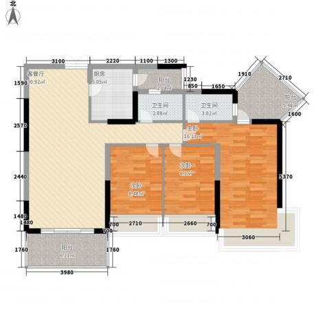 金地格林小城三期3室1厅2卫1厨126.00㎡户型图
