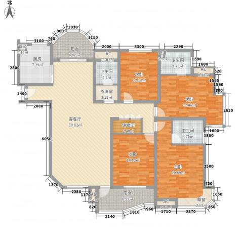 富川瑞园4室1厅3卫1厨180.00㎡户型图