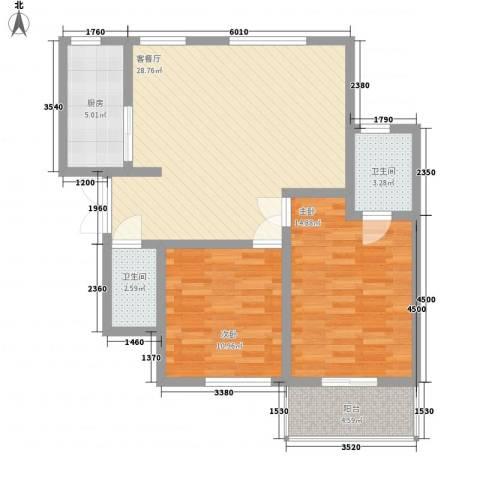 伟邦新西城2室1厅2卫1厨100.00㎡户型图