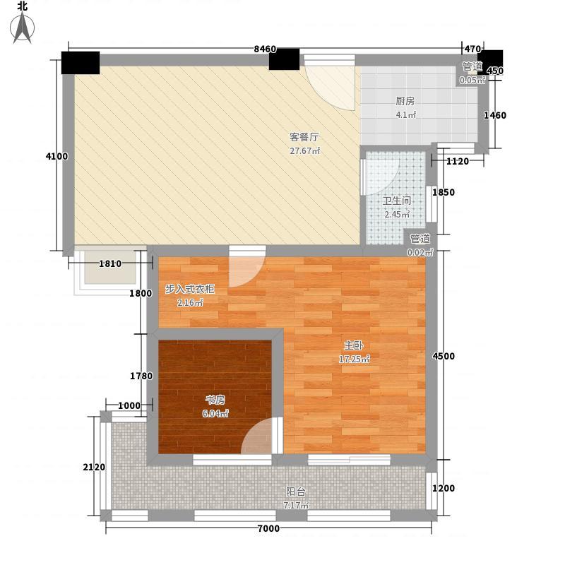 联发欣悦园74.00㎡F户型1室2厅1卫