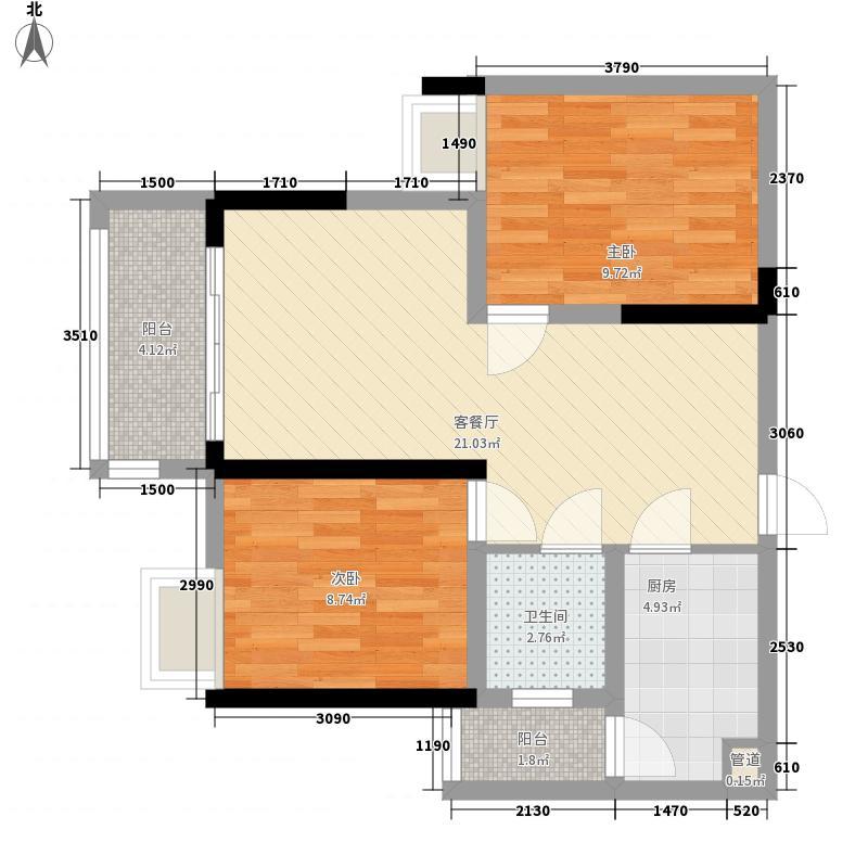 商社汇城品77.00㎡一期2号楼标准层B户型