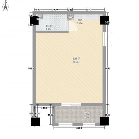 华银国际1厅1卫0厨57.00㎡户型图