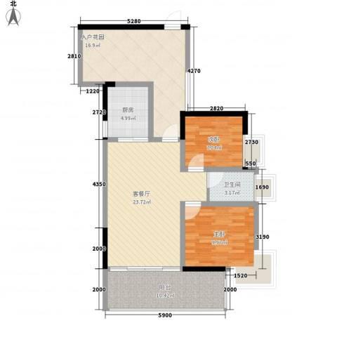 紫金阁2室1厅1卫1厨86.00㎡户型图