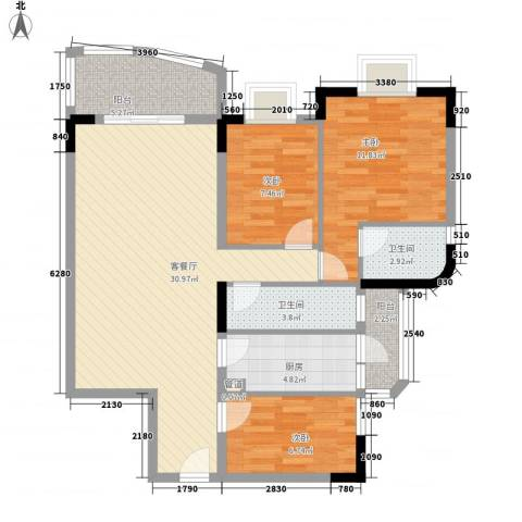 聚豪名轩3室1厅2卫1厨109.00㎡户型图