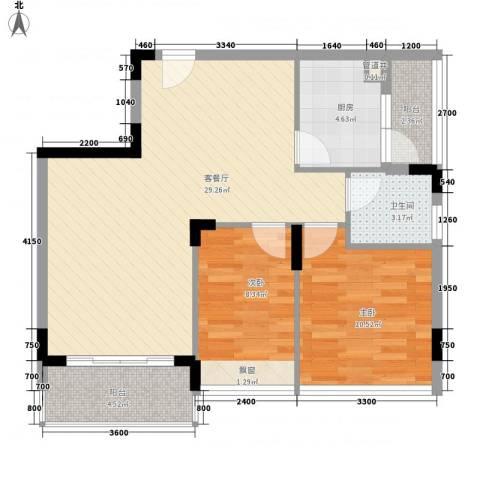 金地格林小城2室1厅1卫1厨75.00㎡户型图