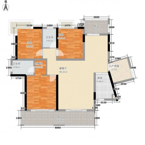 新城国际公馆3室1厅2卫1厨141.00㎡户型图