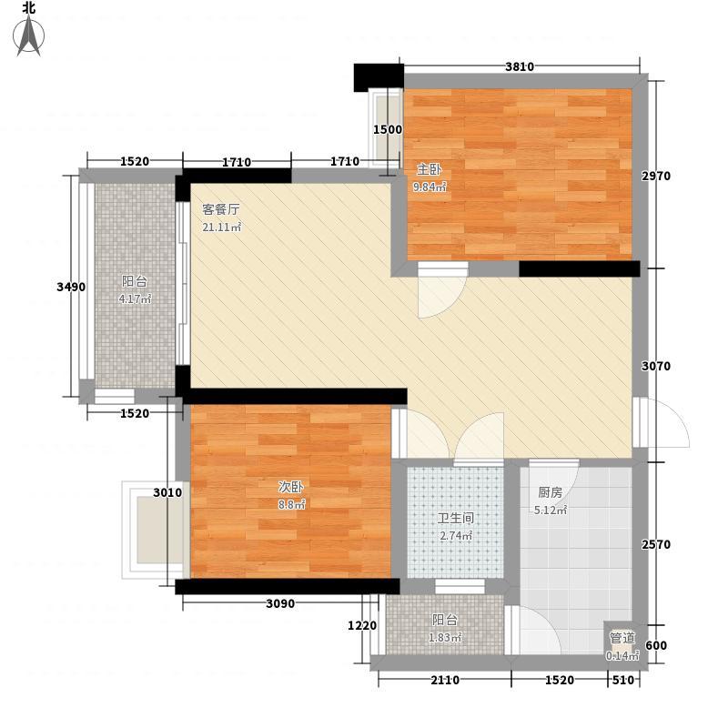 商社汇城品61.61㎡一期2号楼标准层B户型