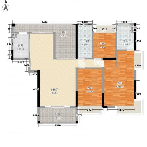 合正上东国际3室1厅2卫1厨156.00㎡户型图