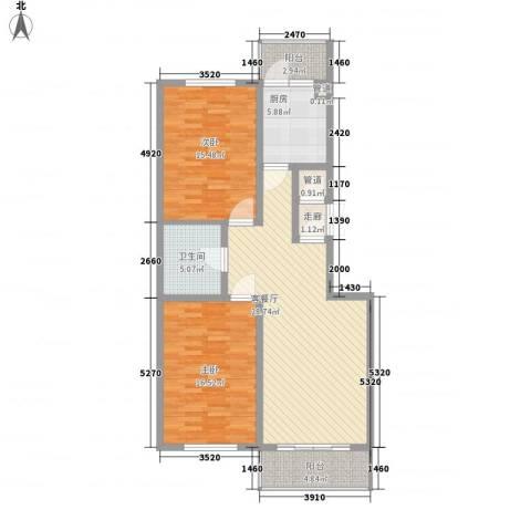果园星城2室1厅1卫1厨81.60㎡户型图