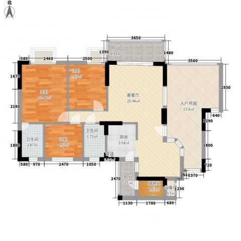 康格斯花园3室1厅2卫0厨112.00㎡户型图