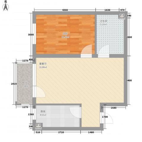 君泰风尚国际1室1厅1卫1厨69.00㎡户型图