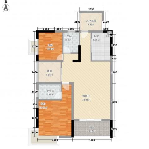 新城国际公馆2室1厅2卫1厨103.00㎡户型图