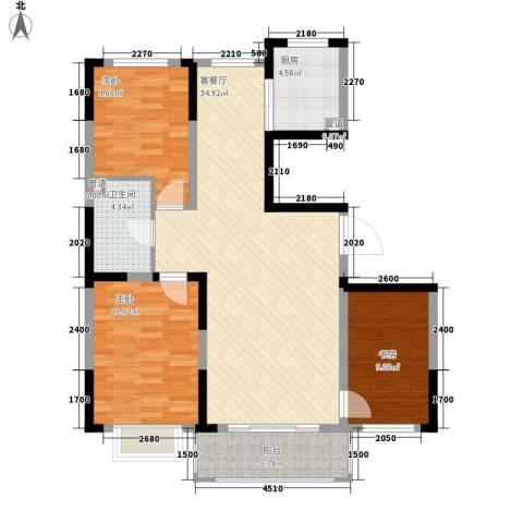 保利花园3室1厅1卫1厨112.00㎡户型图
