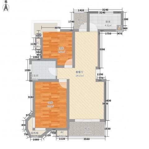 国际花都丹若苑2室1厅1卫1厨93.00㎡户型图