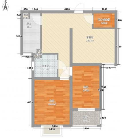 枫林湾2室1厅1卫1厨87.00㎡户型图