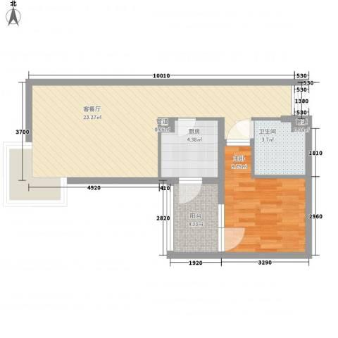 北苑家园茉藜园1室1厅1卫1厨66.00㎡户型图