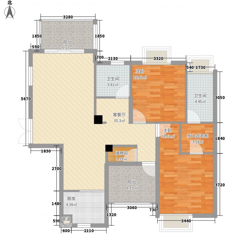 鸿洋湖景名城125.77㎡5栋01户型2室2厅2卫1厨