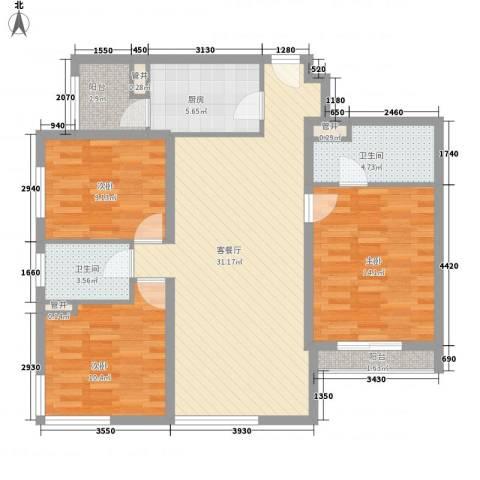 亮马新世家3室1厅2卫1厨119.00㎡户型图