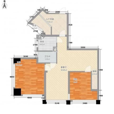 �海2室1厅1卫1厨75.88㎡户型图