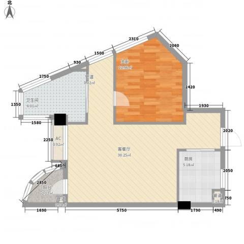 优山美地1室1厅1卫1厨82.00㎡户型图