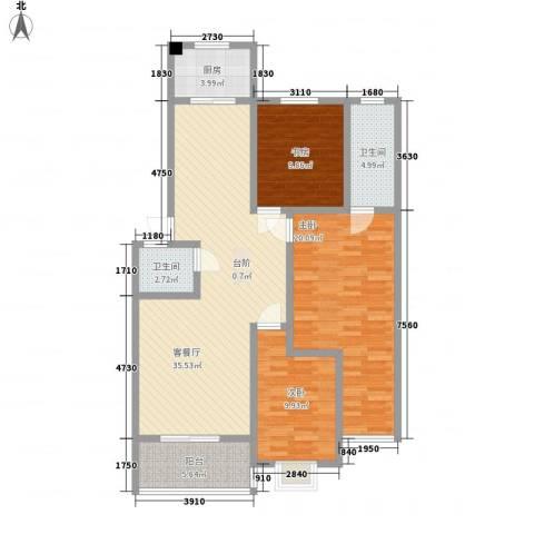 金贝庄园3室1厅2卫1厨133.00㎡户型图