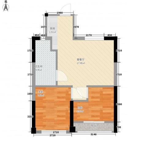 �海2室1厅1卫0厨53.00㎡户型图