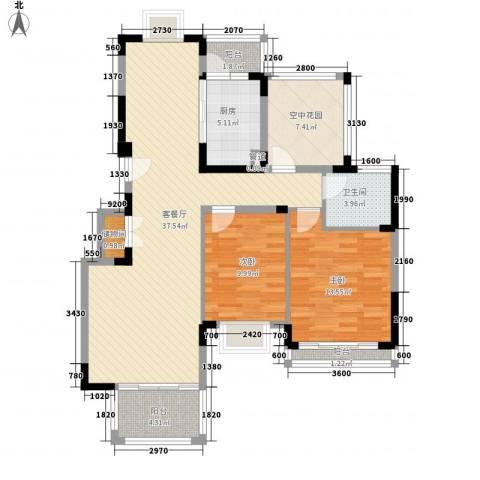 博鳌椰风海岸2室1厅1卫1厨104.00㎡户型图