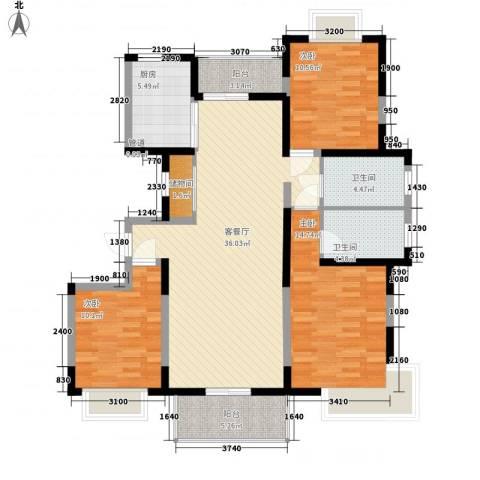共富新家园3室1厅2卫1厨138.00㎡户型图