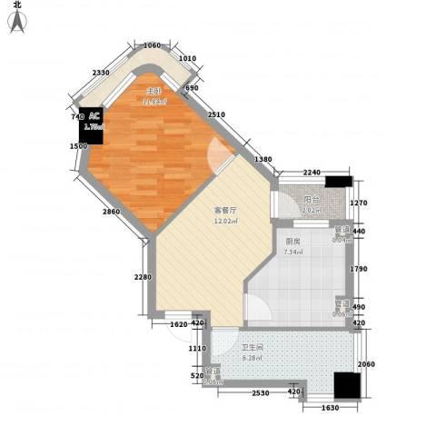 优山美地1室1厅1卫1厨62.00㎡户型图