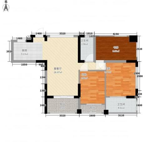 �海3室1厅2卫0厨96.00㎡户型图