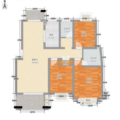 国际花都丹若苑3室1厅2卫1厨129.00㎡户型图