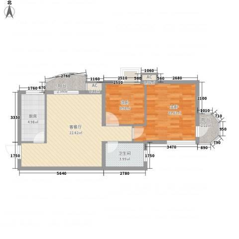 中铁人才家园2室1厅1卫1厨82.00㎡户型图