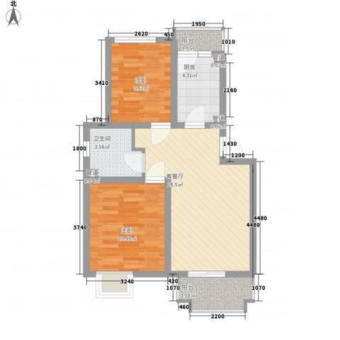 共富新家园2室1厅1卫1厨73.00㎡户型图