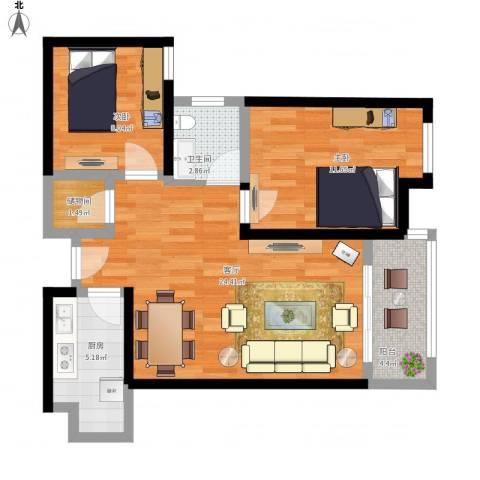 幸福里程2室1厅1卫1厨84.00㎡户型图