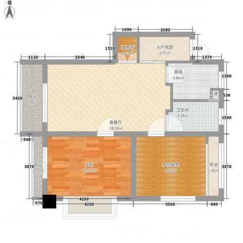 �海1室1厅1卫1厨79.00㎡户型图