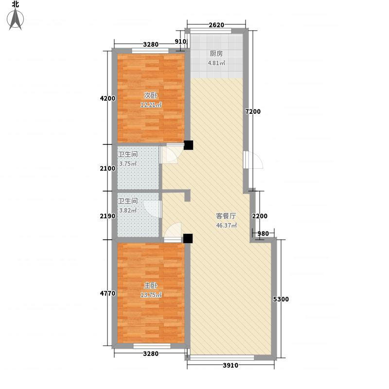 卓越上乘106.00㎡B1户型图106平方米户型2室2厅2卫