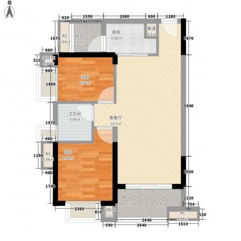 保利公园九里2室1厅1卫1厨77.00㎡户型图