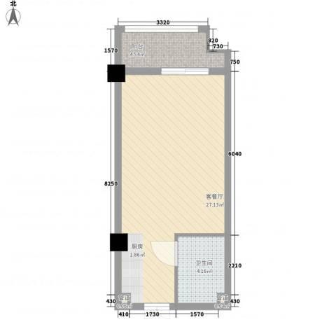 华银国际1厅1卫0厨51.00㎡户型图
