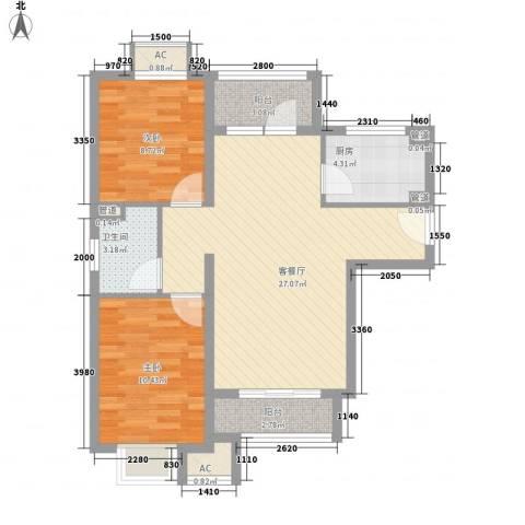 优山美地2室1厅1卫1厨90.00㎡户型图