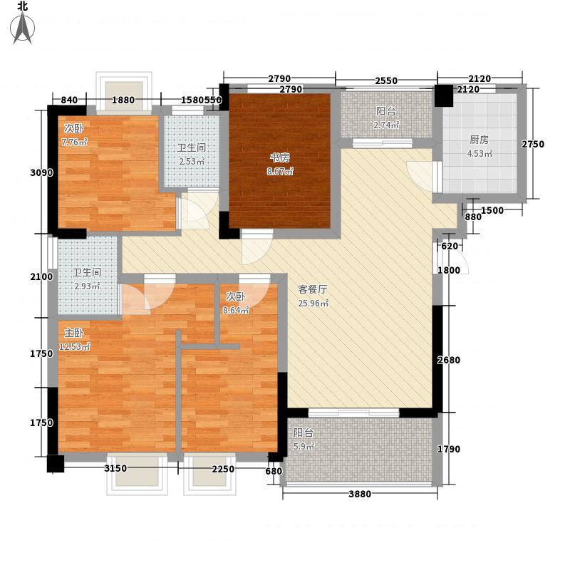 嘉龙中央广场11.68㎡11-12#楼07户型2室2厅1卫1厨
